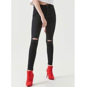 Forever 21 high rise waist black skinny jeans rip